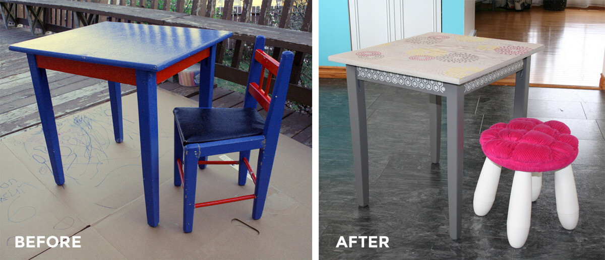 Before and After - refinishing a kids' table