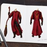 Sketch of Quidditch Robes from Prisoner of Azkaban