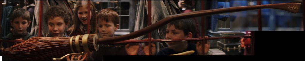 Screenshots of the Nimbus 2000 racing broom as seen in Diagon Alley in the first Harry Potter movie