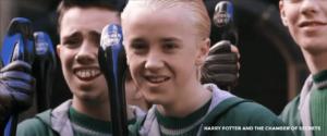 Draco Malfoy with his Nimbus 2001